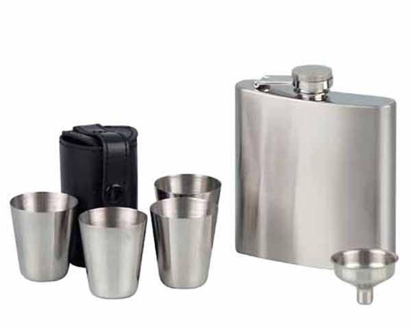 FLACON 725687 CHROME SATIN + 2 CUPS & FUNNEL - 6OZ