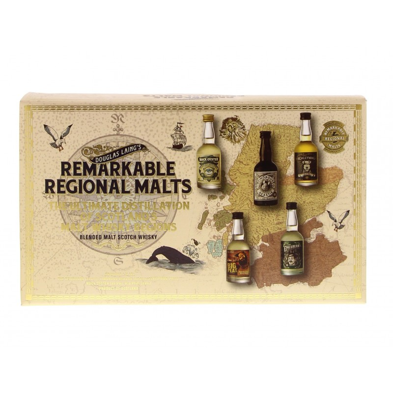 Remarkable Regional Malts 5 x 5 cl (Scallywag, Rock Oyster, Big Peat, Timorous Beastie & Epicurean) 46.4° 0.25L